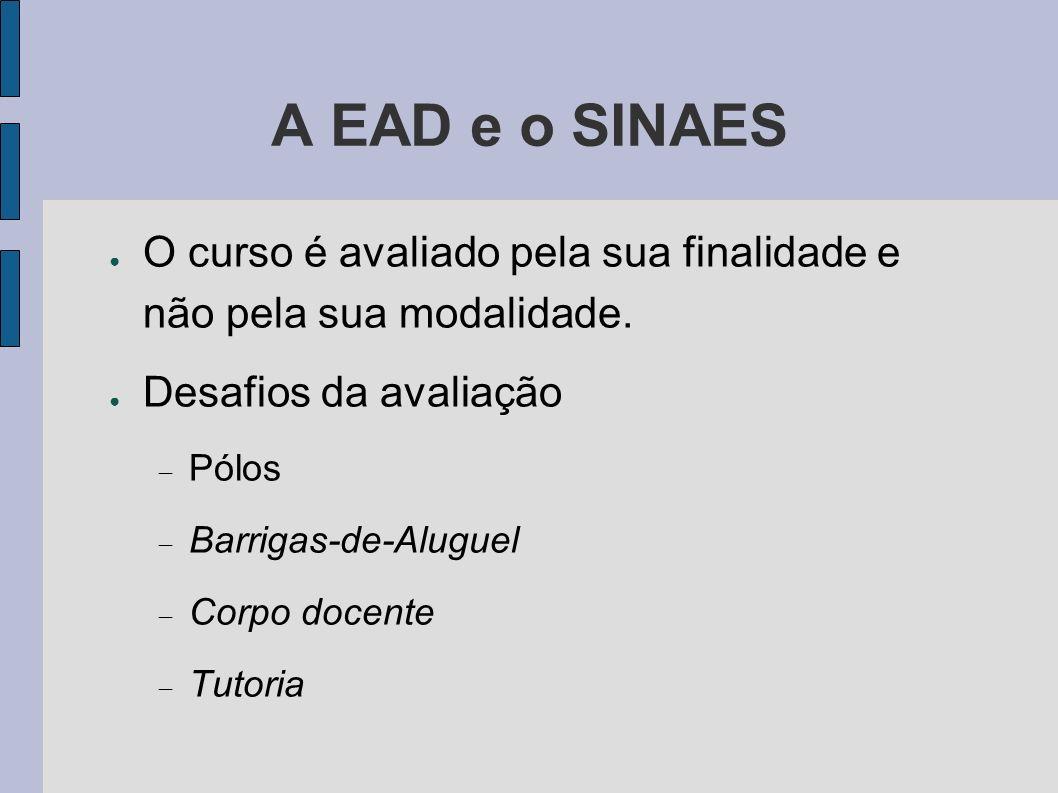 A EAD e o SINAES O curso é avaliado pela sua finalidade e não pela sua modalidade. Desafios da avaliação.