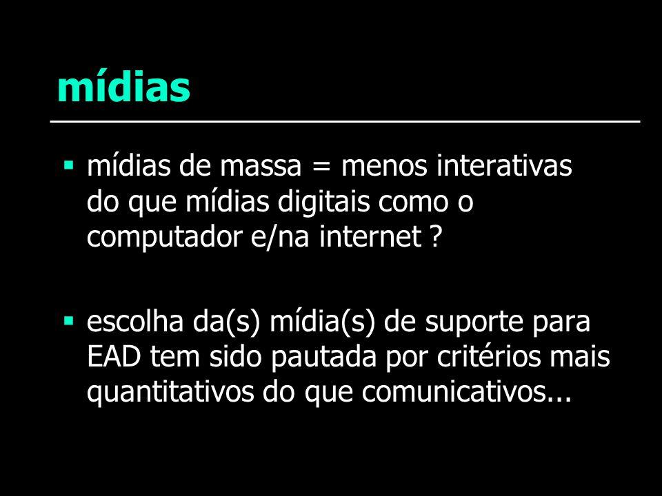 mídias mídias de massa = menos interativas do que mídias digitais como o computador e/na internet