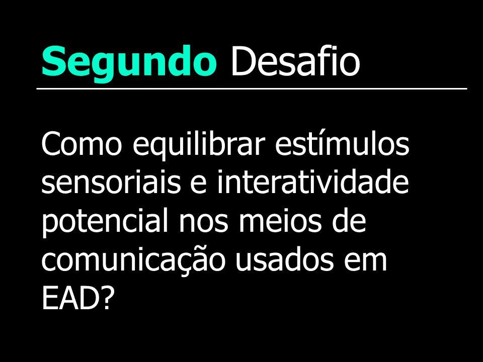 Segundo Desafio Como equilibrar estímulos sensoriais e interatividade potencial nos meios de comunicação usados em EAD