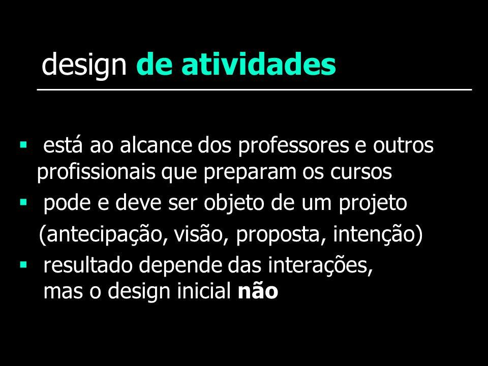 design de atividadesestá ao alcance dos professores e outros profissionais que preparam os cursos. pode e deve ser objeto de um projeto.