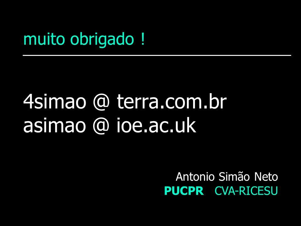 muito obrigado ! 4simao @ terra.com.br asimao @ ioe.ac.uk