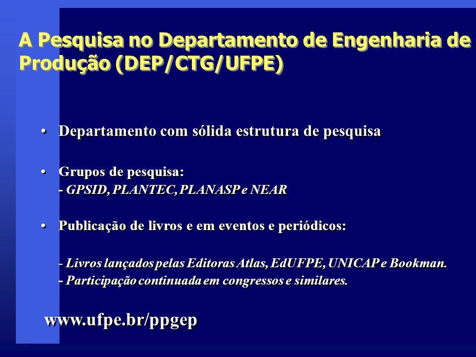 A Pesquisa no Departamento de Engenharia de Produção (DEP/CTG/UFPE)