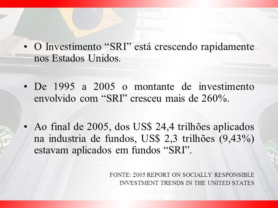 O Investimento SRI está crescendo rapidamente nos Estados Unidos.