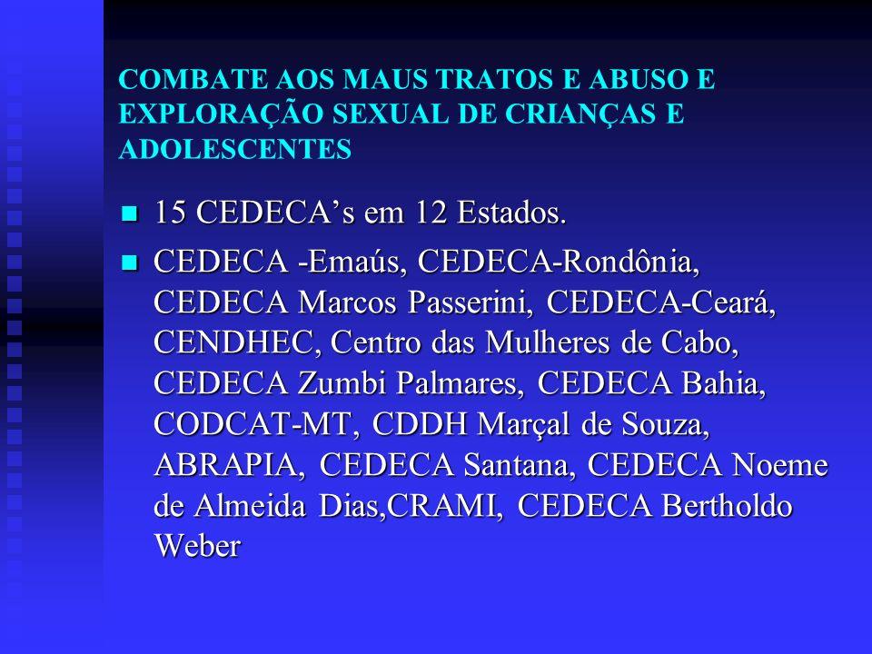 COMBATE AOS MAUS TRATOS E ABUSO E EXPLORAÇÃO SEXUAL DE CRIANÇAS E ADOLESCENTES