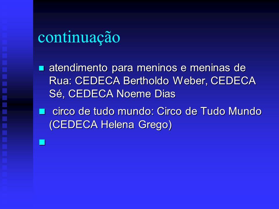 continuação atendimento para meninos e meninas de Rua: CEDECA Bertholdo Weber, CEDECA Sé, CEDECA Noeme Dias.