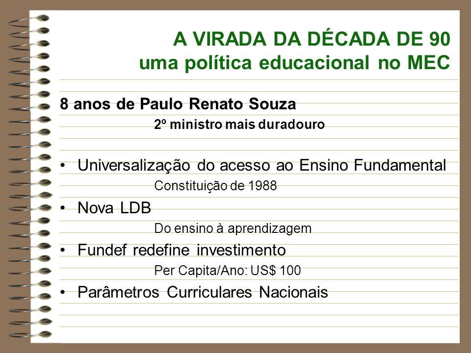A VIRADA DA DÉCADA DE 90 uma política educacional no MEC
