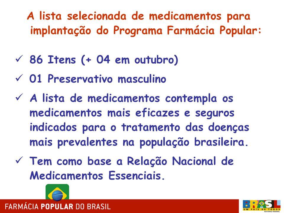 A lista selecionada de medicamentos para implantação do Programa Farmácia Popular: