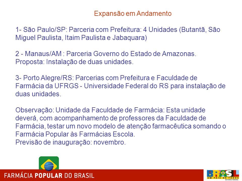 Expansão em Andamento 1- São Paulo/SP: Parceria com Prefeitura: 4 Unidades (Butantã, São Miguel Paulista, Itaim Paulista e Jabaquara)