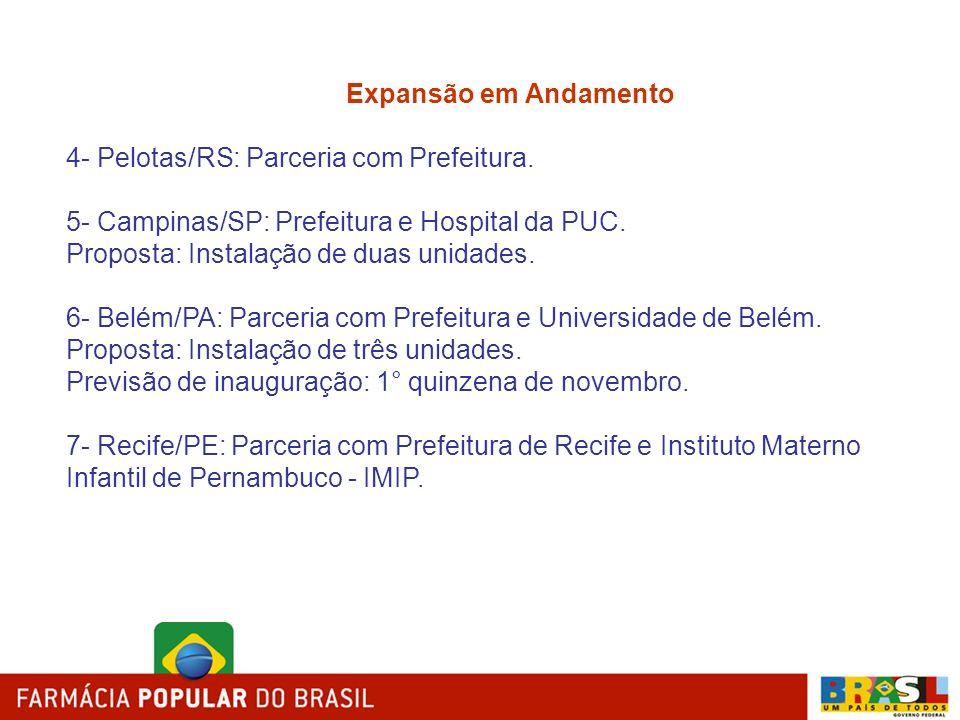 Expansão em Andamento 4- Pelotas/RS: Parceria com Prefeitura. 5- Campinas/SP: Prefeitura e Hospital da PUC.