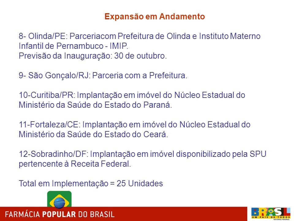 Expansão em Andamento 8- Olinda/PE: Parceriacom Prefeitura de Olinda e Instituto Materno Infantil de Pernambuco - IMIP.