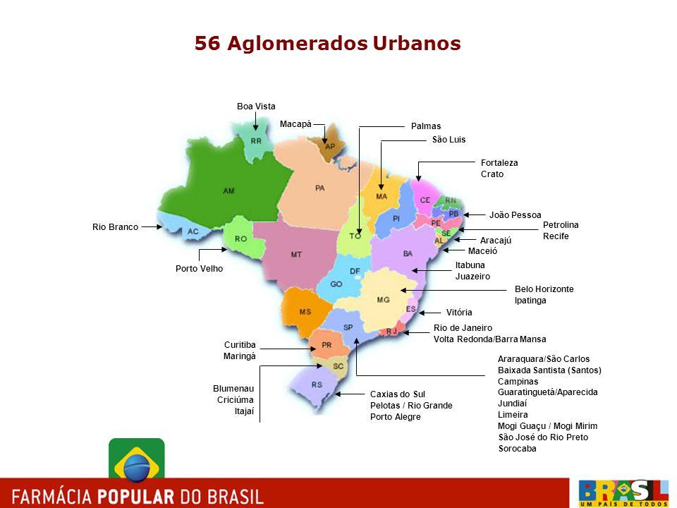 56 Aglomerados Urbanos Boa Vista Macapá Palmas São Luis Fortaleza