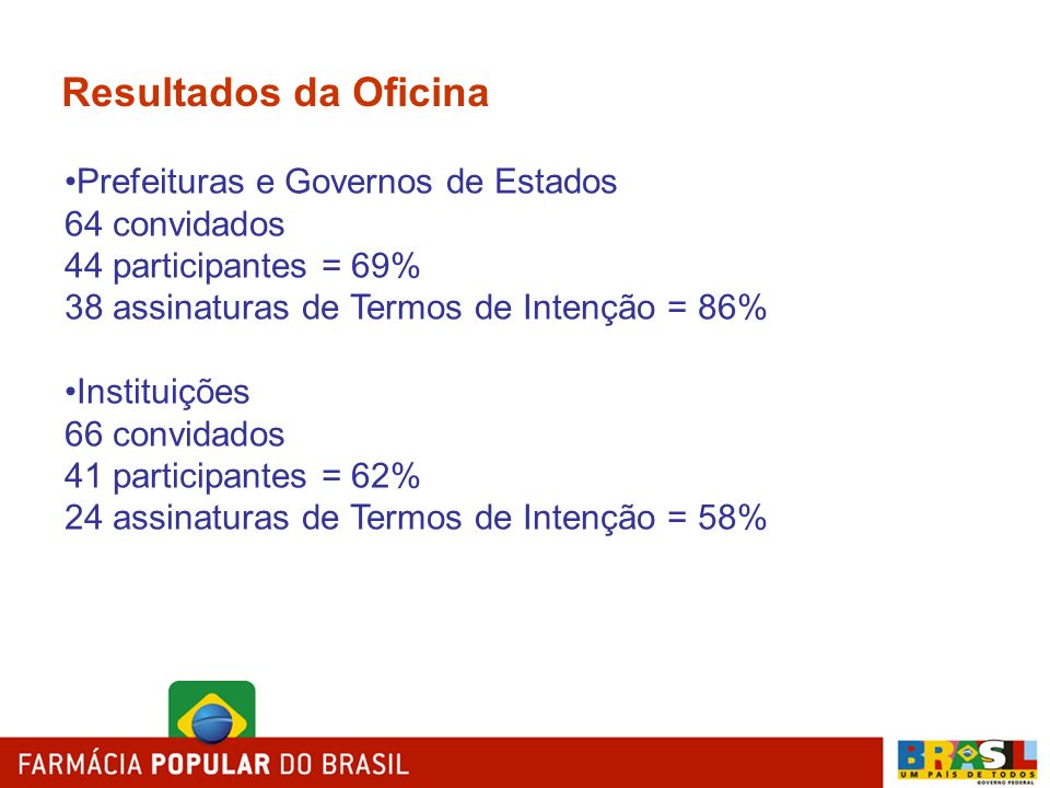 Resultados da Oficina Prefeituras e Governos de Estados 64 convidados