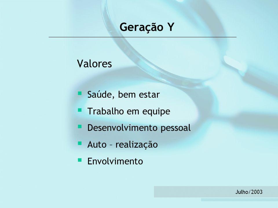 Geração Y Valores Saúde, bem estar Trabalho em equipe