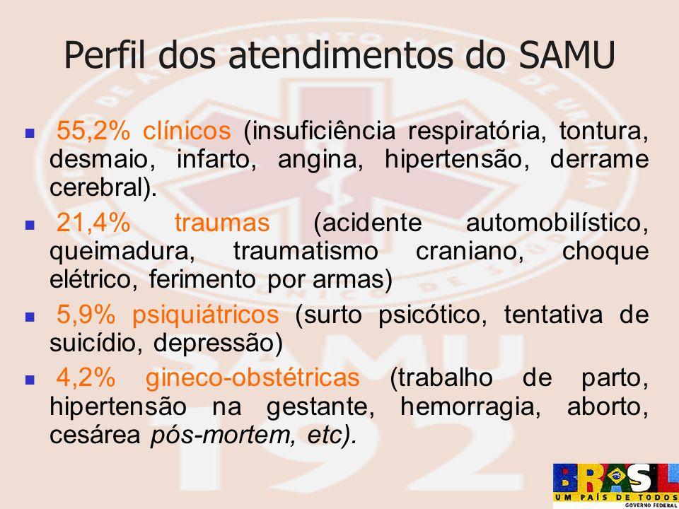 Perfil dos atendimentos do SAMU