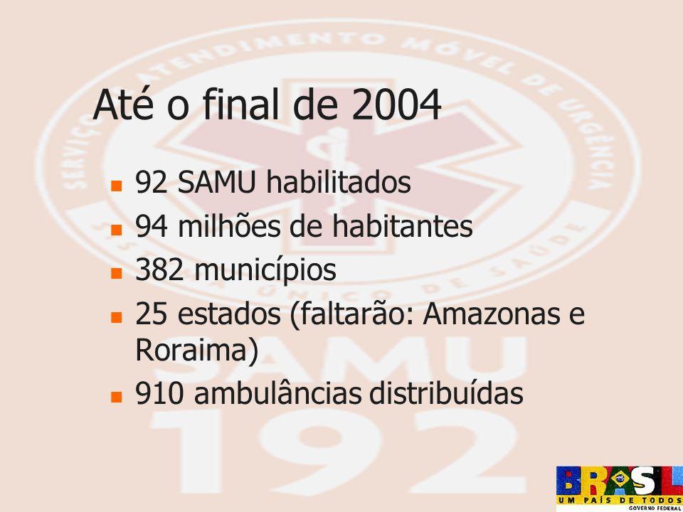 Até o final de 2004 92 SAMU habilitados 94 milhões de habitantes