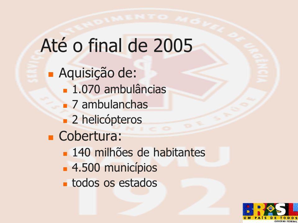 Até o final de 2005 Aquisição de: Cobertura: 1.070 ambulâncias
