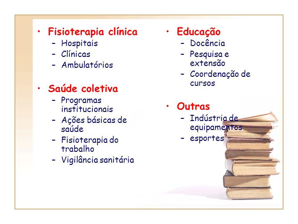 Fisioterapia clínica Saúde coletiva Educação Outras Hospitais Clínicas