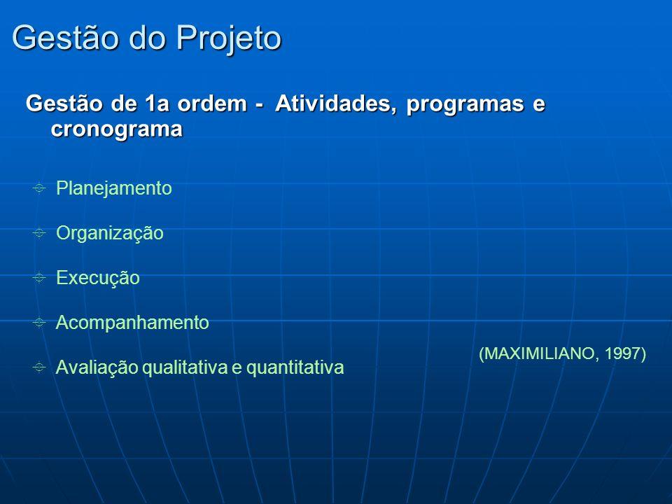 Gestão do Projeto Gestão de 1a ordem - Atividades, programas e cronograma. Planejamento. Organização.