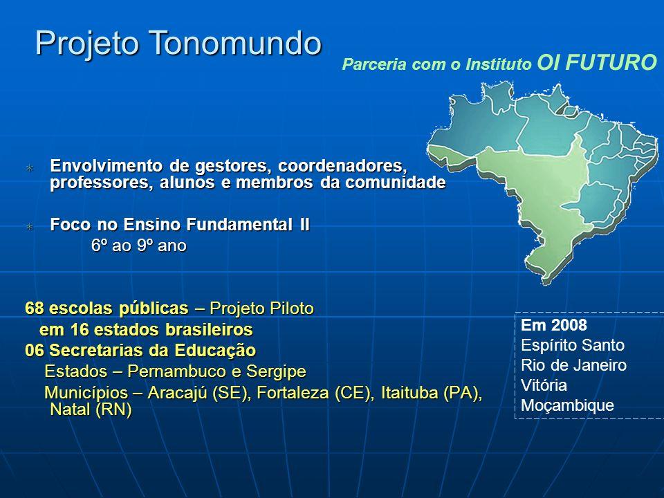 Projeto Tonomundo Parceria com o Instituto OI FUTURO. Envolvimento de gestores, coordenadores, professores, alunos e membros da comunidade.