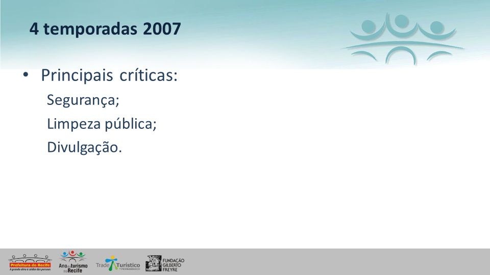 4 temporadas 2007 Principais críticas: Segurança; Limpeza pública;