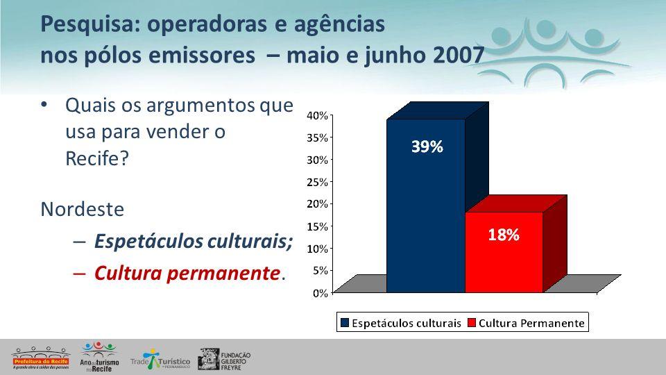 Pesquisa: operadoras e agências nos pólos emissores – maio e junho 2007