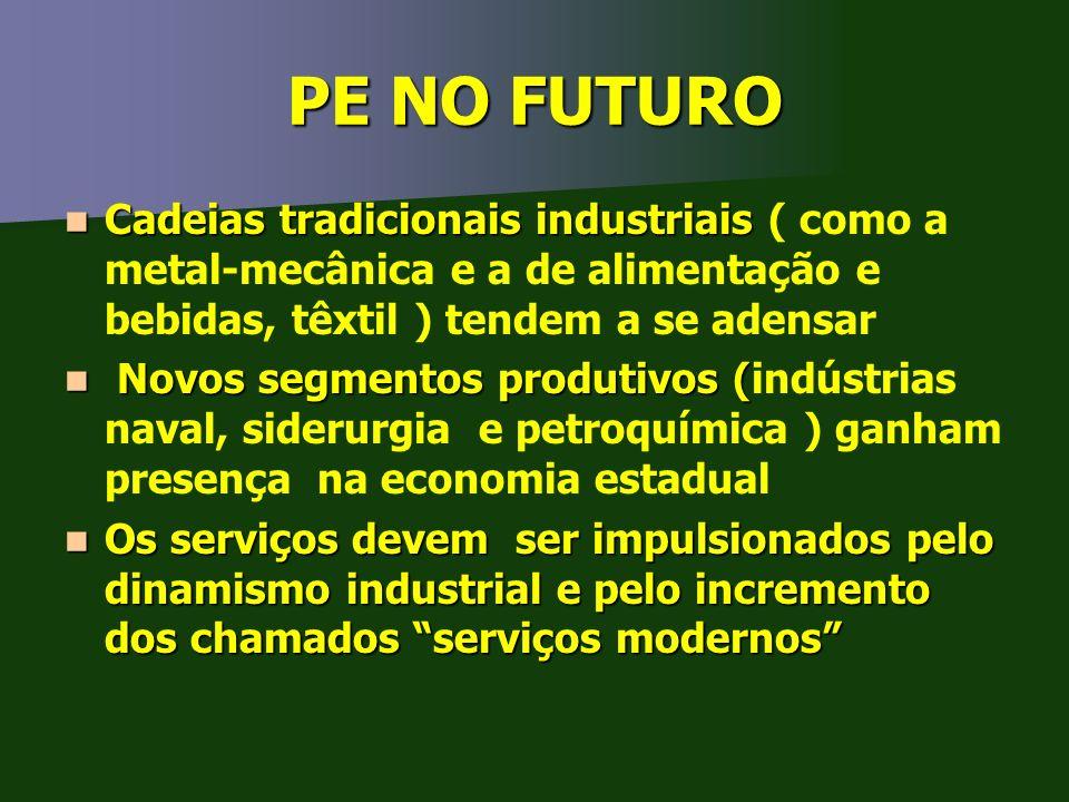 PE NO FUTURO Cadeias tradicionais industriais ( como a metal-mecânica e a de alimentação e bebidas, têxtil ) tendem a se adensar.