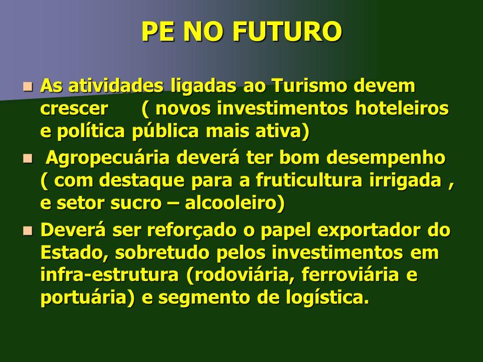 PE NO FUTURO As atividades ligadas ao Turismo devem crescer ( novos investimentos hoteleiros e política pública mais ativa)