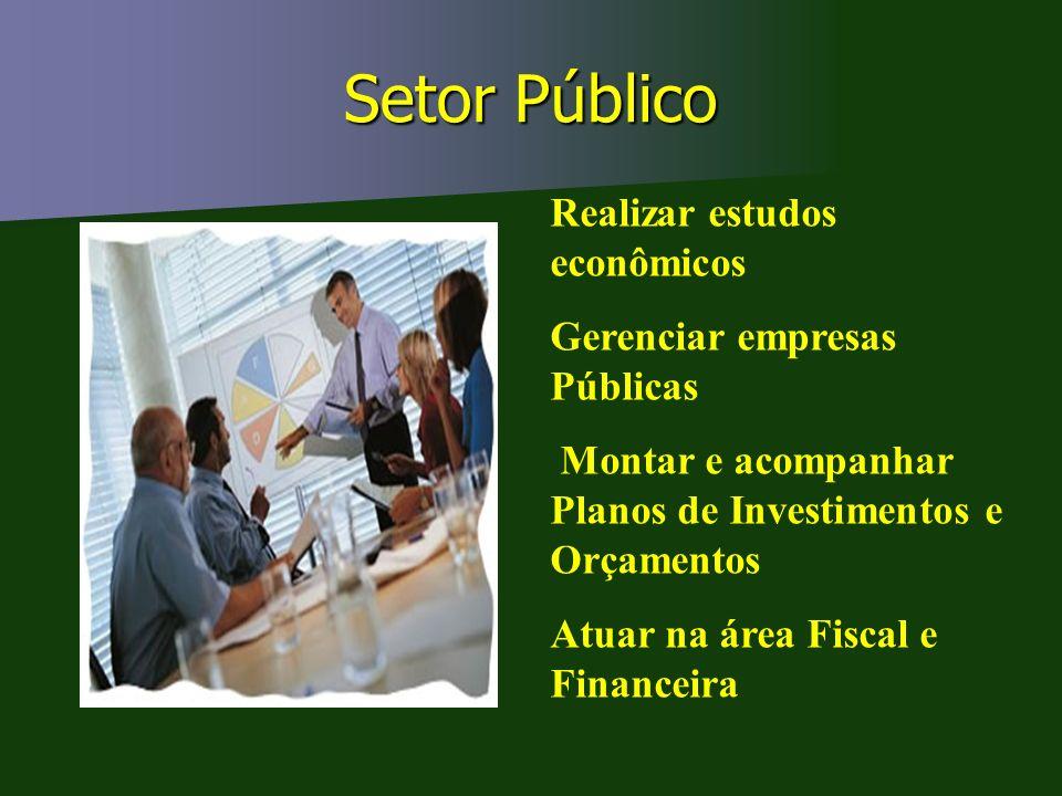 Setor Público Realizar estudos econômicos Gerenciar empresas Públicas