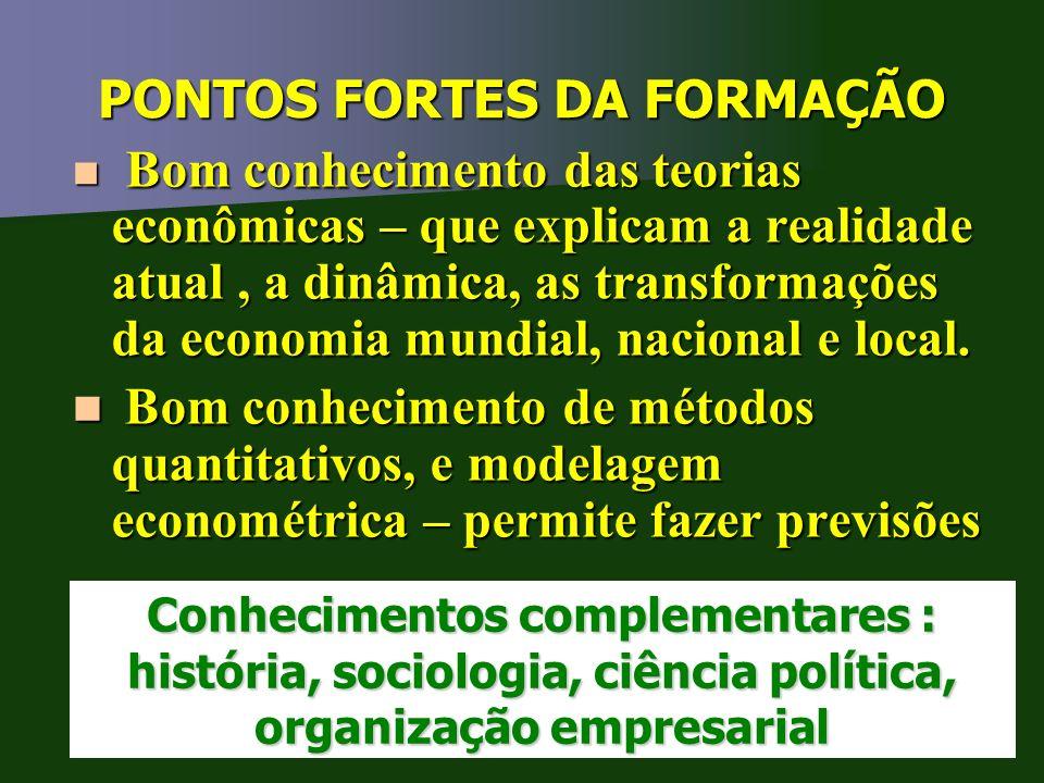 PONTOS FORTES DA FORMAÇÃO