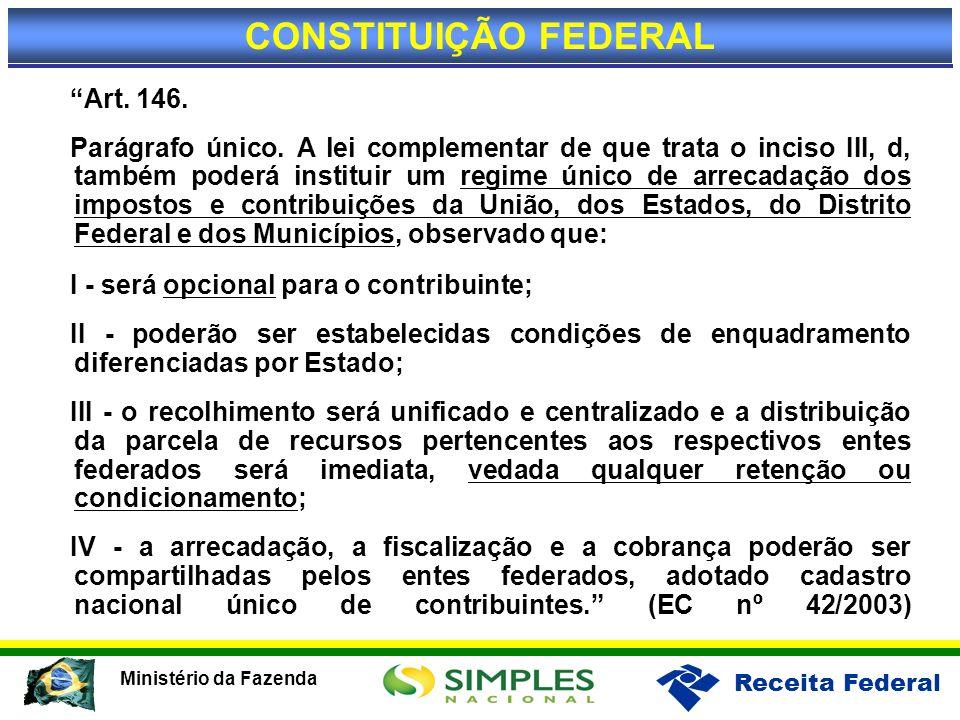 CONSTITUIÇÃO FEDERAL I - será opcional para o contribuinte; Art. 146.