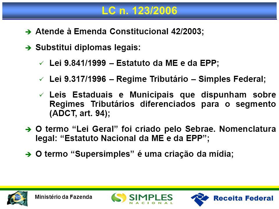 LC n. 123/2006 Atende à Emenda Constitucional 42/2003;