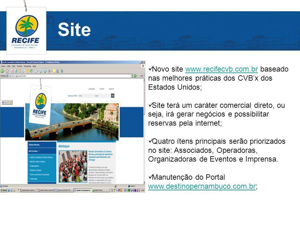 Site Novo site www.recifecvb.com.br baseado nas melhores práticas dos CVB'x dos Estados Unidos;