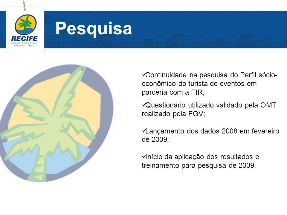 Pesquisa Continuidade na pesquisa do Perfil sócio-econômico do turista de eventos em parceria com a FIR;