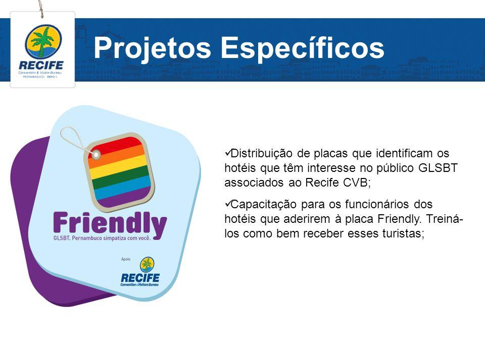 Projetos Específicos Distribuição de placas que identificam os hotéis que têm interesse no público GLSBT associados ao Recife CVB;