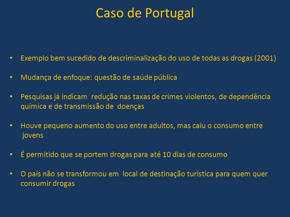 Caso de Portugal Exemplo bem sucedido de descriminalização do uso de todas as drogas (2001) Mudança de enfoque: questão de saúde pública.
