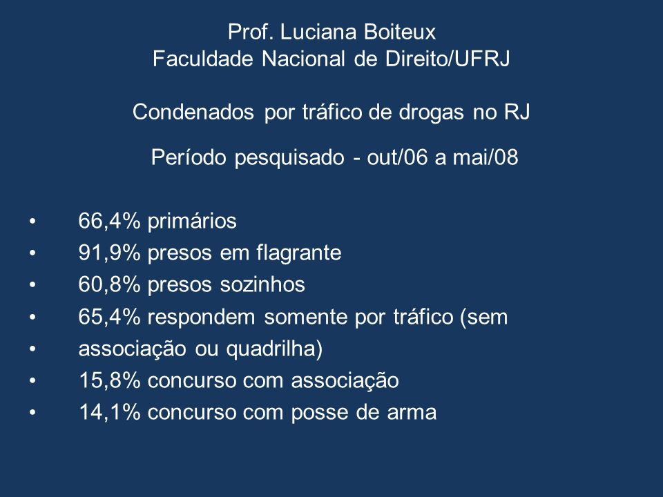 Prof. Luciana Boiteux Faculdade Nacional de Direito/UFRJ Condenados por tráfico de drogas no RJ