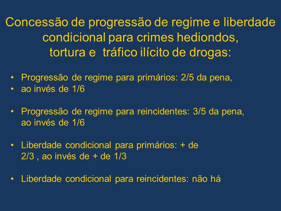 Concessão de progressão de regime e liberdade condicional para crimes hediondos, tortura e tráfico ilícito de drogas: