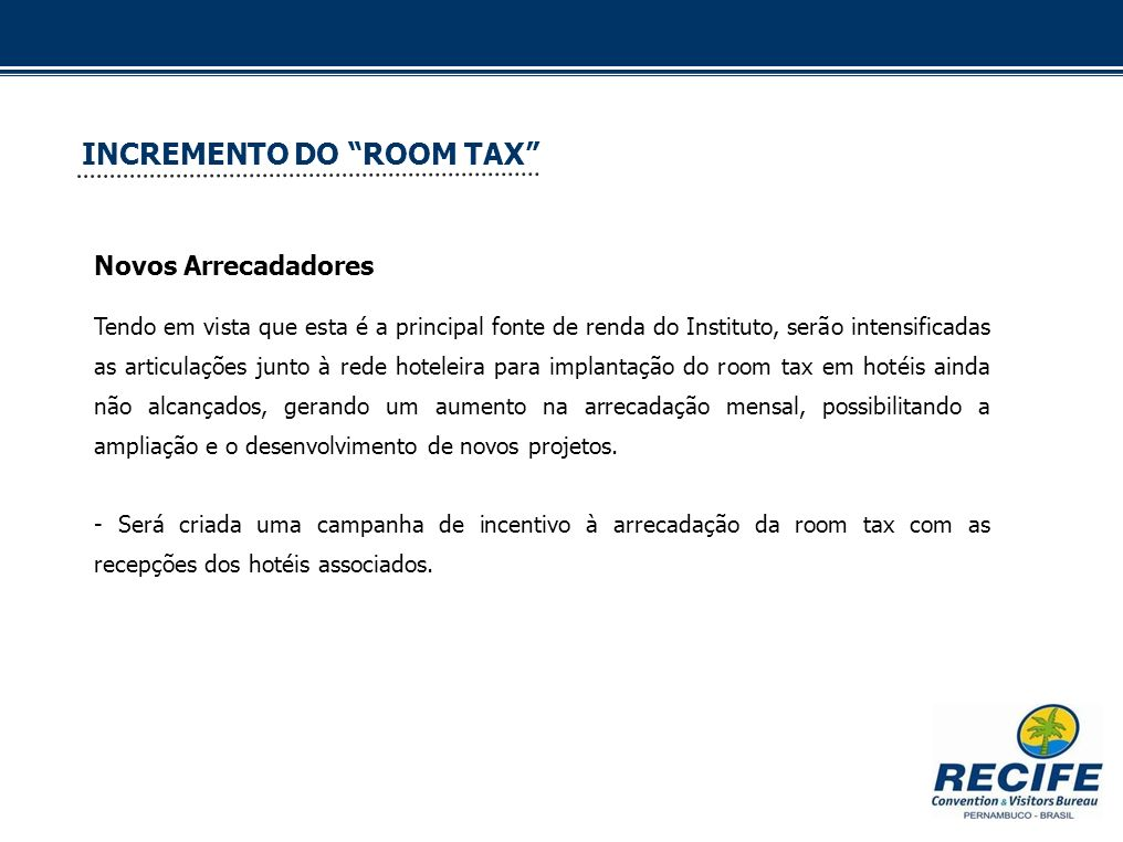 INCREMENTO DO ROOM TAX
