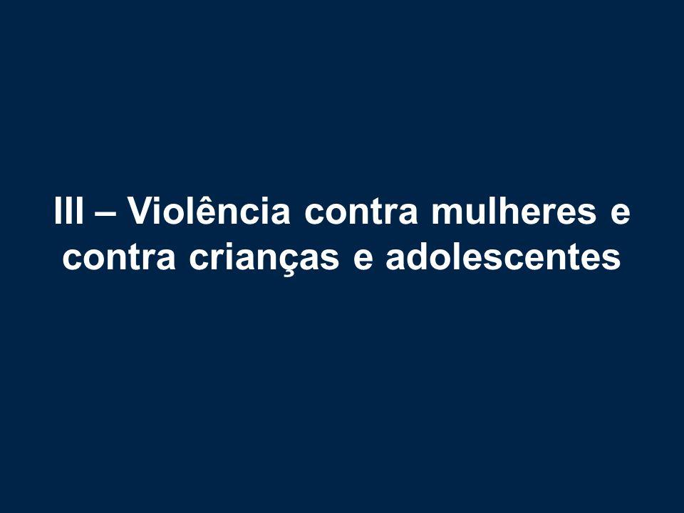 III – Violência contra mulheres e contra crianças e adolescentes