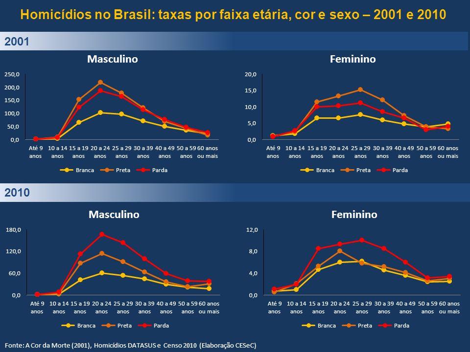 Homicídios no Brasil: taxas por faixa etária, cor e sexo – 2001 e 2010