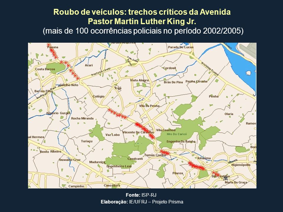 Roubo de veículos: trechos críticos da Avenida