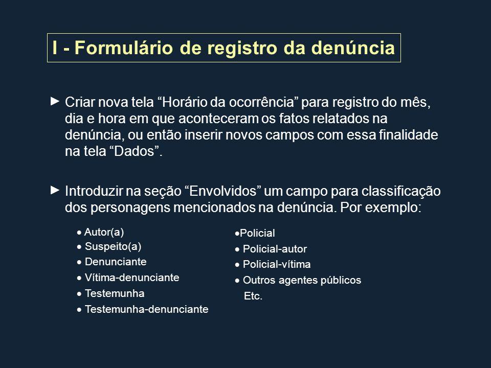 I - Formulário de registro da denúncia