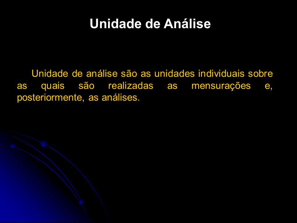 Unidade de Análise Unidade de análise são as unidades individuais sobre as quais são realizadas as mensurações e, posteriormente, as análises.