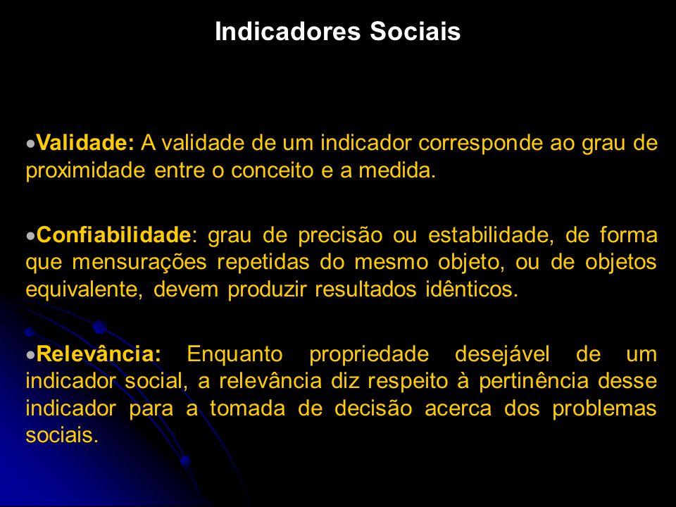 Indicadores Sociais Validade: A validade de um indicador corresponde ao grau de proximidade entre o conceito e a medida.