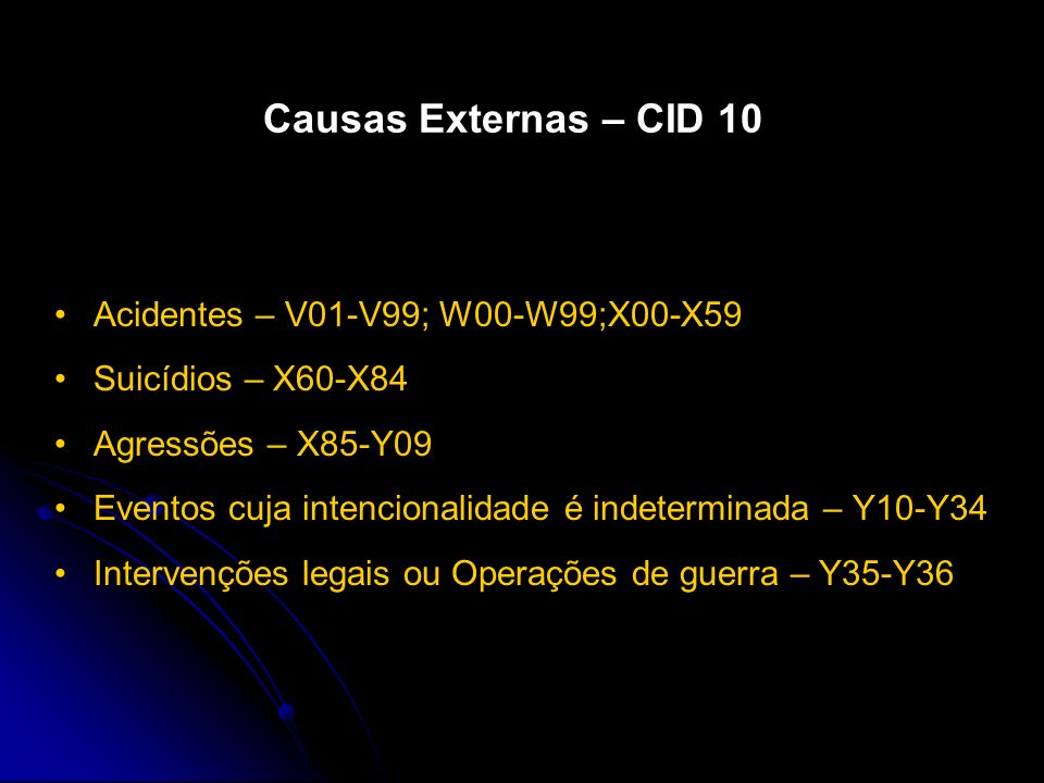 Causas Externas – CID 10 Acidentes – V01-V99; W00-W99;X00-X59