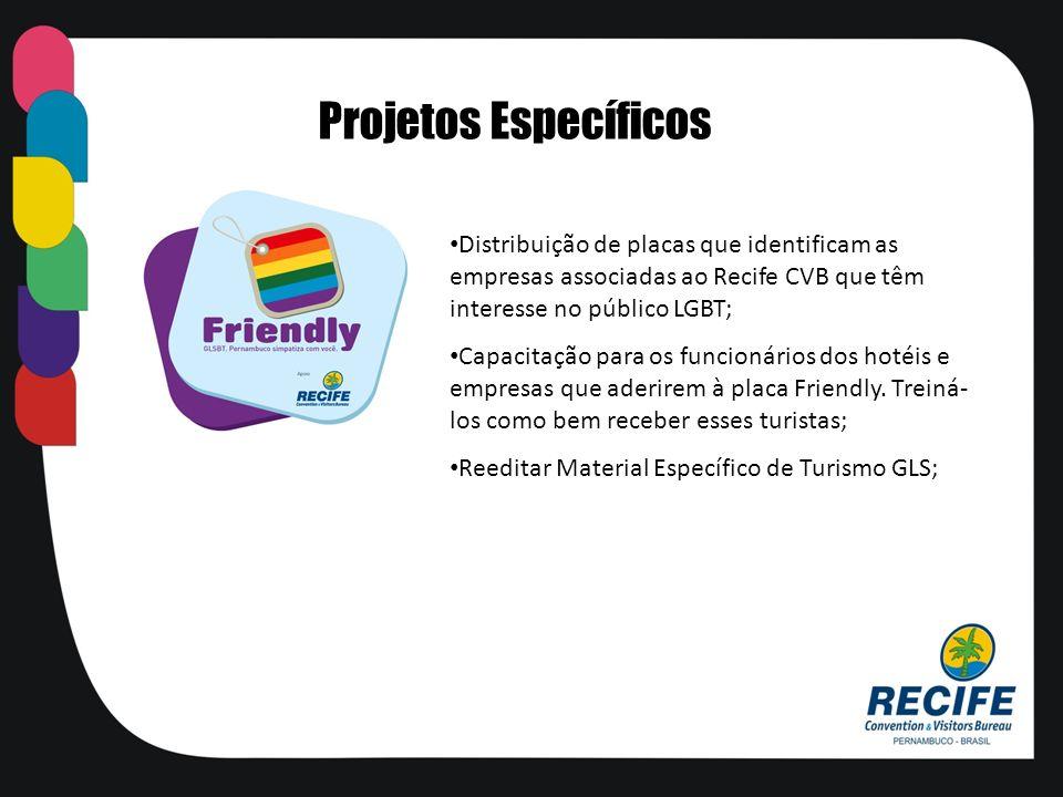 Projetos EspecíficosDistribuição de placas que identificam as empresas associadas ao Recife CVB que têm interesse no público LGBT;