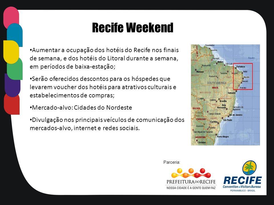 Recife Weekend Aumentar a ocupação dos hotéis do Recife nos finais de semana, e dos hotéis do Litoral durante a semana, em períodos de baixa-estação;