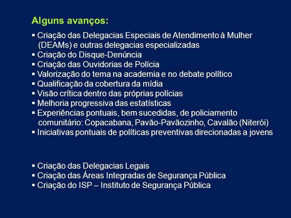 Alguns avanços: Criação das Delegacias Especiais de Atendimento à Mulher. (DEAMs) e outras delegacias especializadas.