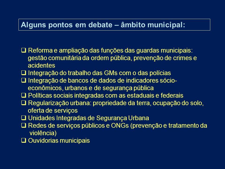 Alguns pontos em debate – âmbito municipal: