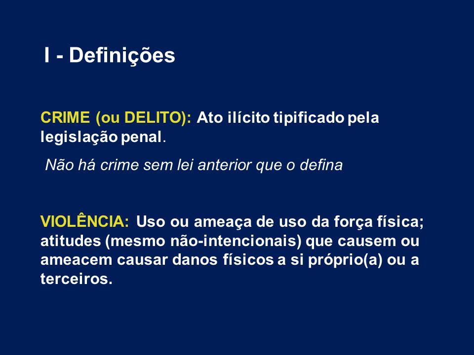 I - Definições CRIME (ou DELITO): Ato ilícito tipificado pela legislação penal. Não há crime sem lei anterior que o defina.